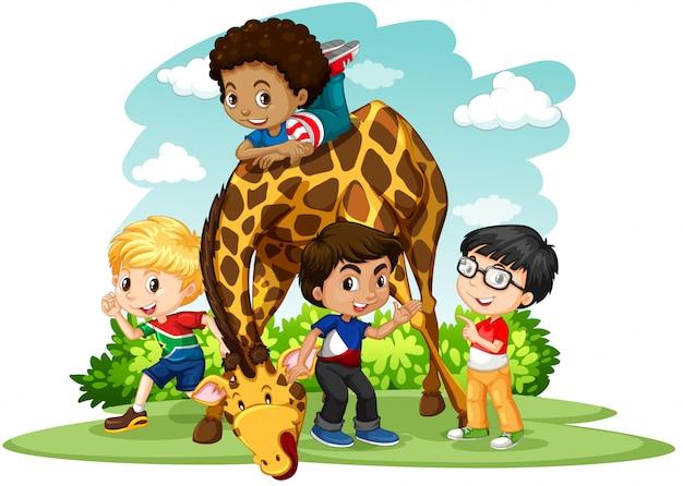 Bambini che giocano con la giraffa Vettore gratuito