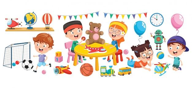 Bambini che giocano con vari giocattoli Vettore Premium