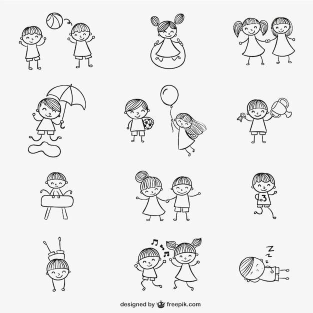 Bambini che giocano doodles Vettore gratuito