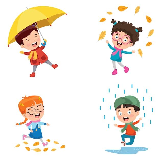 Bambini che giocano fuori nella stagione autunnale Vettore Premium