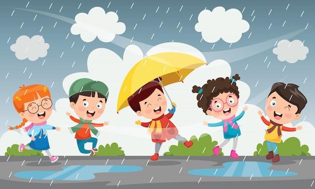 Bambini che giocano fuori sotto la pioggia Vettore Premium