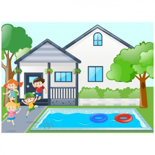 Bambini che giocano in piscina scaricare vettori gratis - Fotos de casas con piscina ...