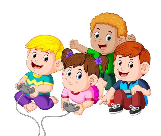 Bambini che giocano insieme ai videogiochi Vettore Premium