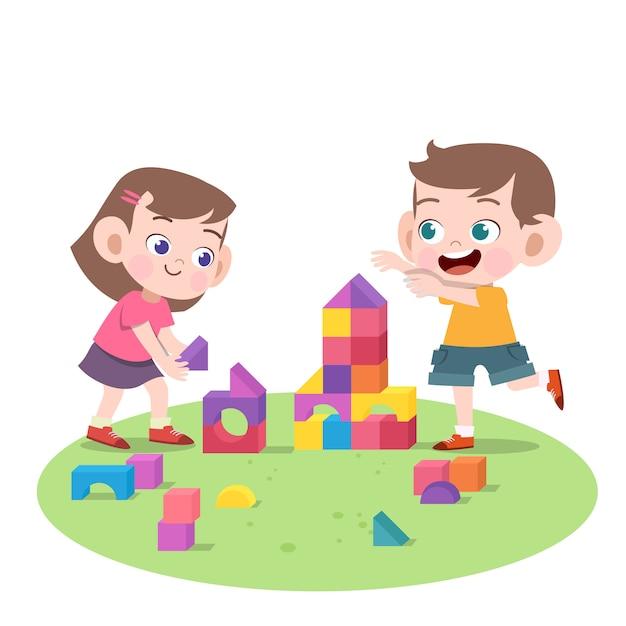 Bambini che giocano insieme illustrazione vettoriale Vettore Premium