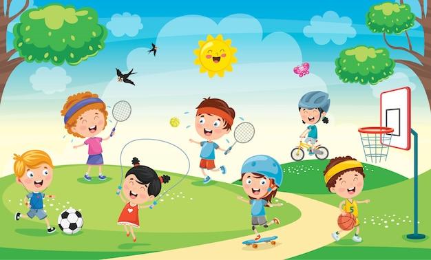 Bambini che giocano nel parco Vettore Premium