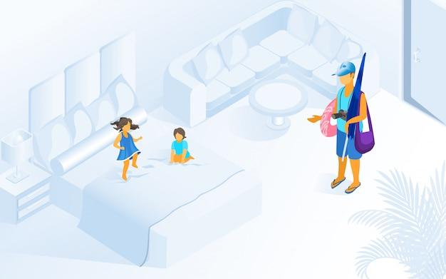Bambini che giocano sull'illustrazione della camera d'albergo del letto Vettore Premium