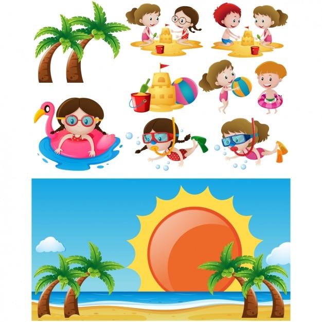 Bambini Che Giocano Sulla Spiaggia Di Disegno Scaricare Vettori Gratis
