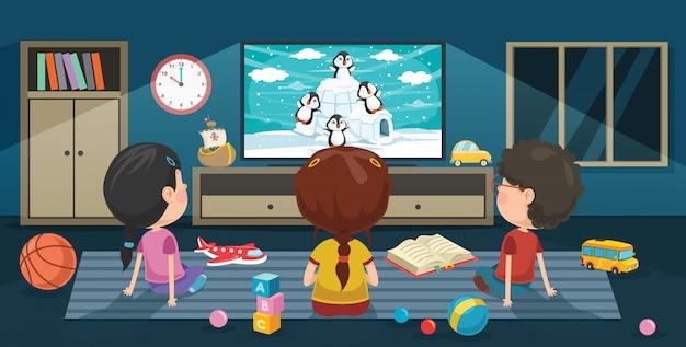 Bambini che guardano la televisione in una stanza Vettore Premium