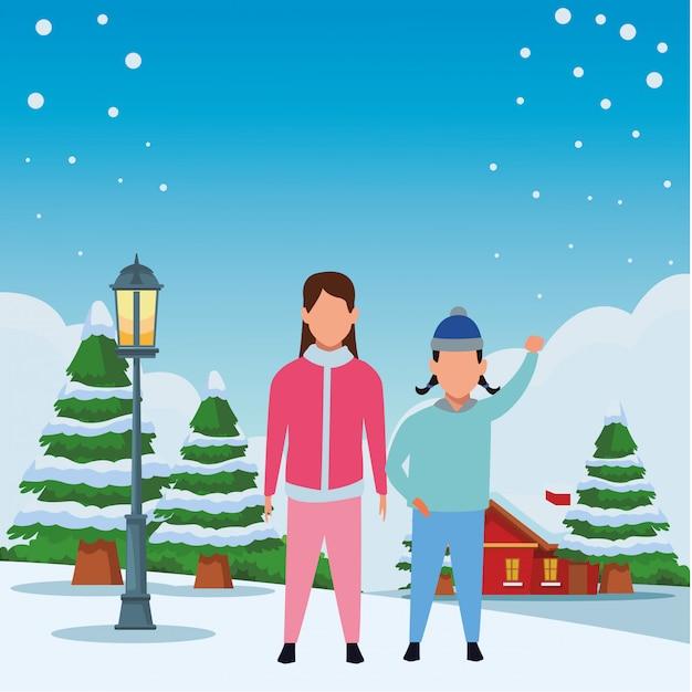 Bambini che indossano abiti invernali Vettore Premium
