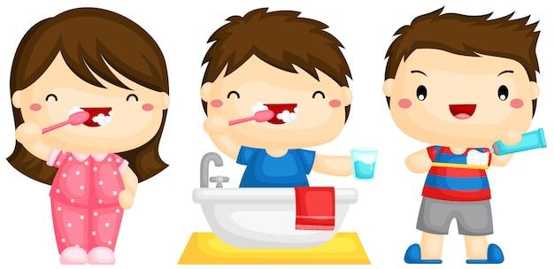 Bambini che lavano i denti Vettore Premium