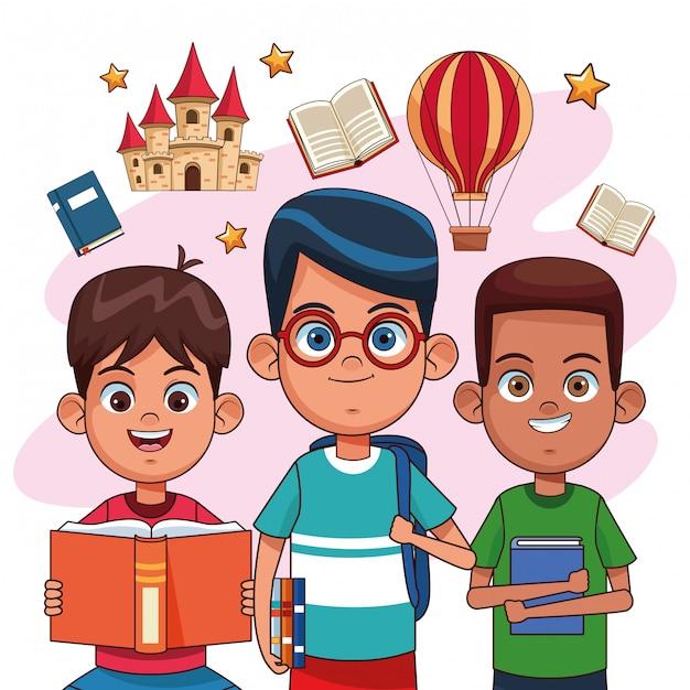 Bambini che leggono fiabe Vettore Premium