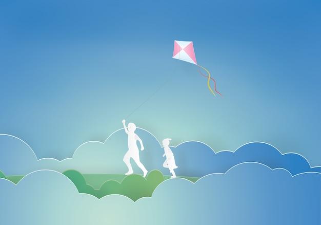 Bambini che pilotano un aquilone Vettore Premium