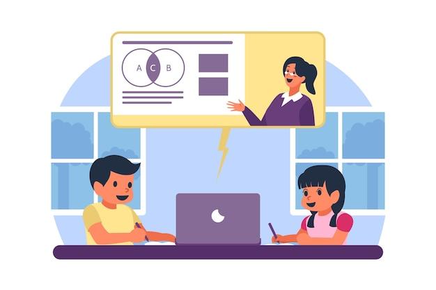 Bambini che prendono lezioni online Vettore gratuito