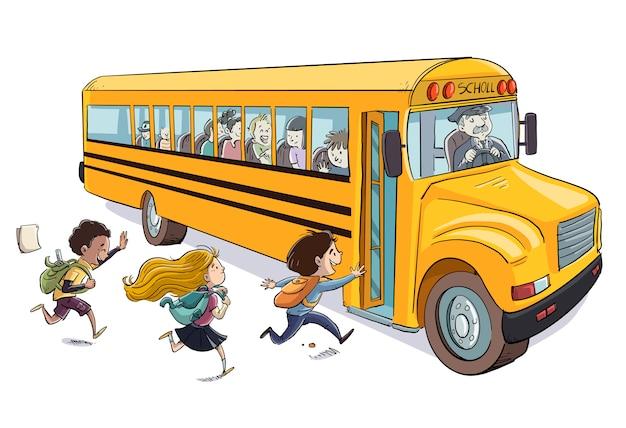 Bambini che salgono sullo scuolabus Vettore Premium
