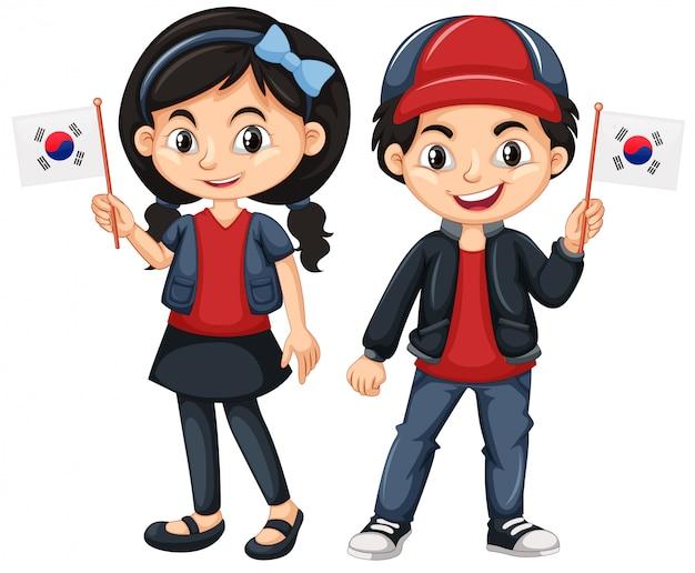 Bambini che tengono la bandiera della corea del sud Vettore gratuito
