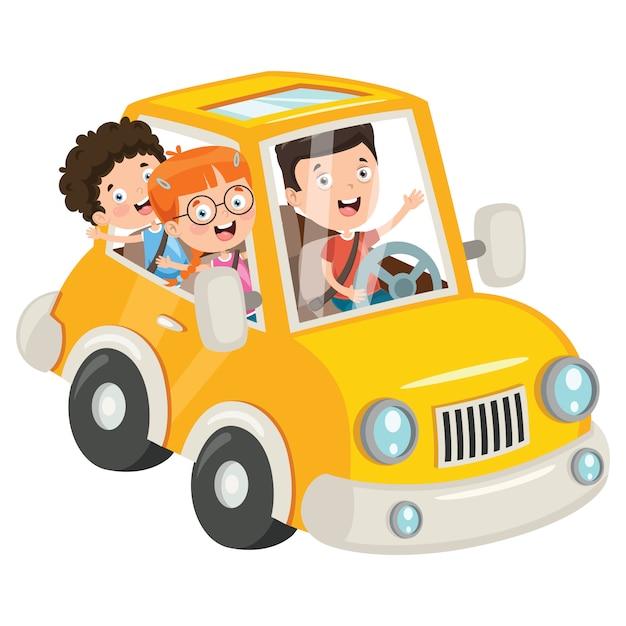 Bambini che viaggiano con un'auto divertente Vettore Premium
