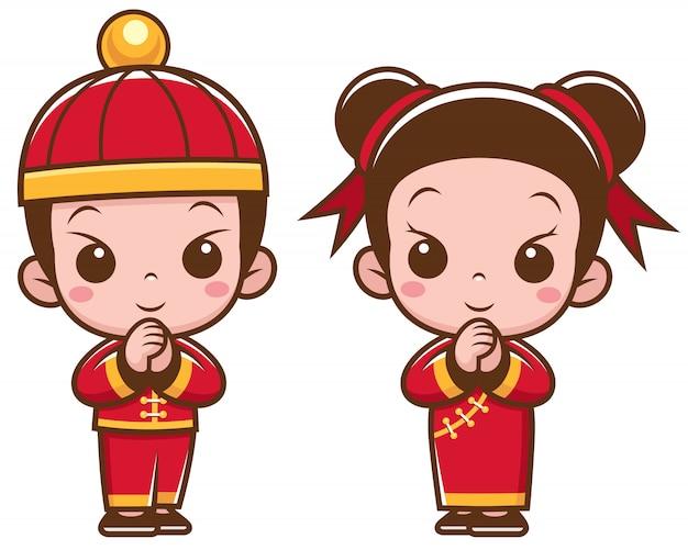 Bambini cinesi dei cartoni animati Vettore Premium
