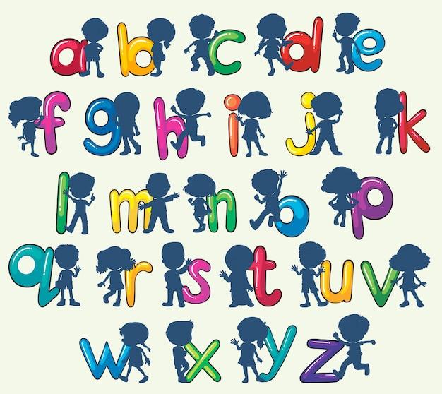 Bambini con alfabeti inglesi Vettore gratuito