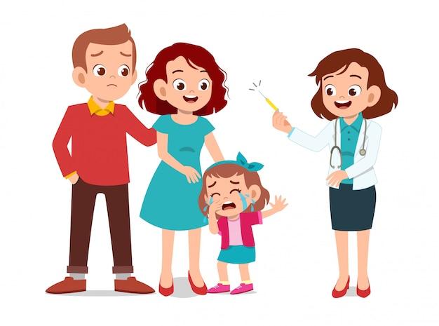 Bambini con esame medico dei genitori Vettore Premium