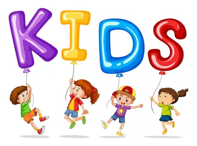 Bambini con palloncini colorati per bambini di parole for Parole con scie per bambini