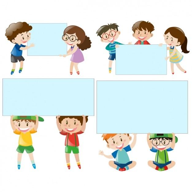 Bambini Con Raccolta Cornici Scaricare Vettori Gratis