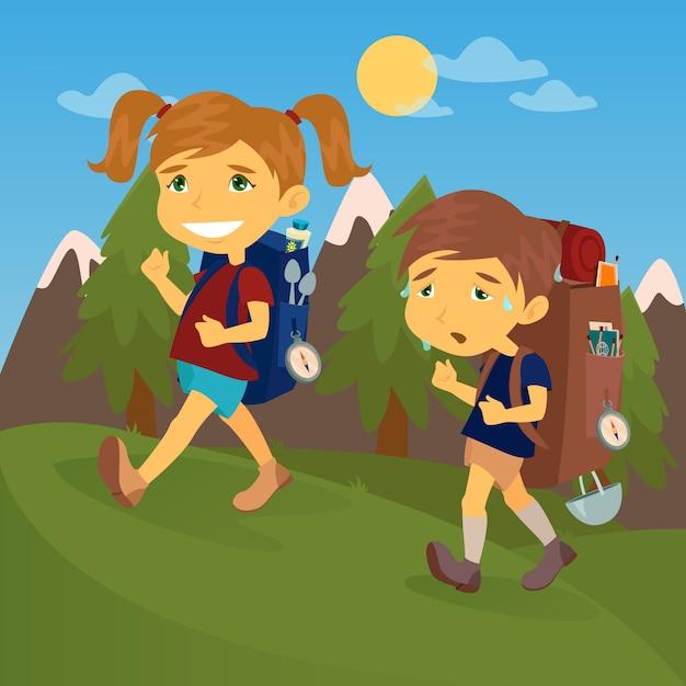 Bambini con zaini da viaggio. boy and girl scout. coppia di turisti. Vettore Premium