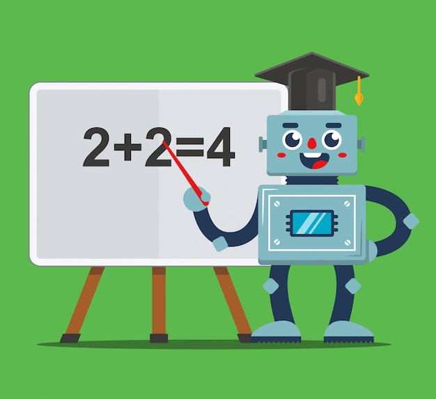 Bambini d'istruzione del robot nell'illustrazione dell'aula Vettore Premium
