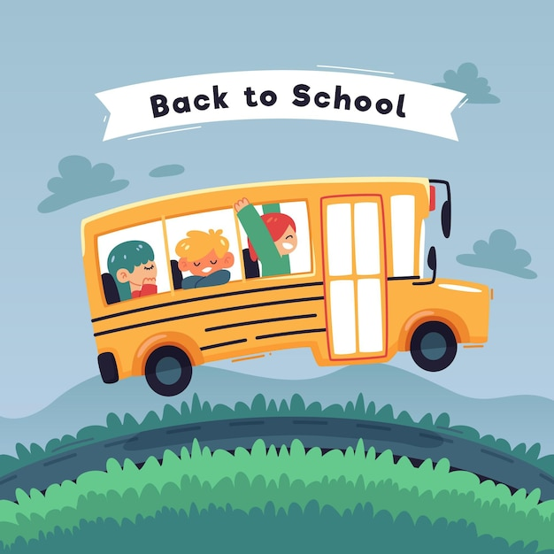 Bambini deisng piatti tornano a scuola Vettore gratuito