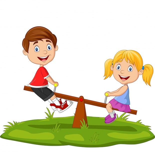 Bambini del fumetto che giocano sul movimento alternato nel parco Vettore Premium