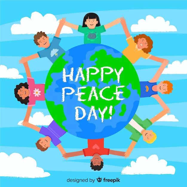 Bambini del fumetto design piatto sulla giornata internazionale della pace Vettore gratuito