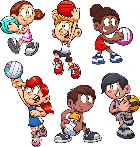 Bambini del netball Vettore Premium