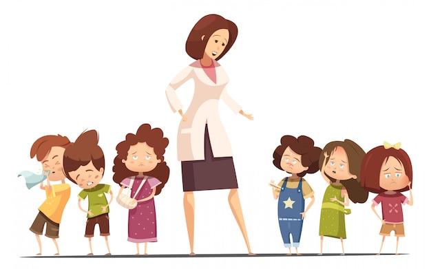 Bambini dell'asilo di piccolo gruppo con intossicazione alimentare e sintomi influenzali e infermieri che prendono i bambini a tempera Vettore gratuito