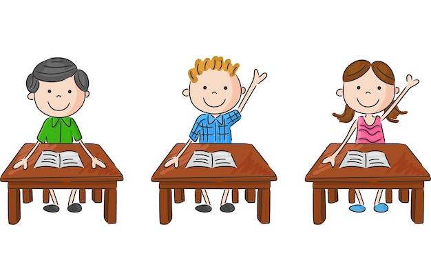 Bambini della scuola seduti sul tavolo | Vettore Premium