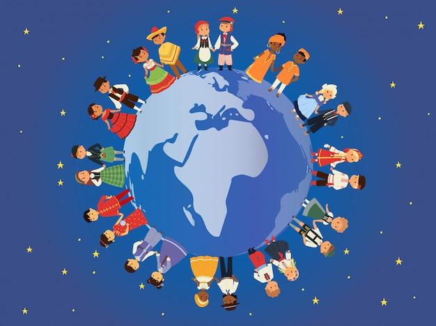 Bambini di diverse nazionalità intorno all'illustrazione della terra. personaggi per bambini in costume tradizionale in costume nazionale Vettore Premium