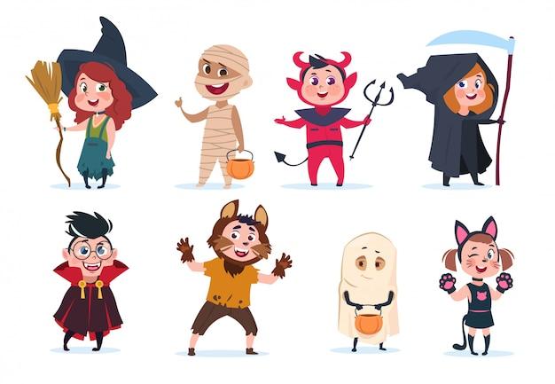 Bambini di halloween. bambini del fumetto in costumi di halloween. ragazze e ragazzi divertenti al partito hanno isolato i personaggi Vettore Premium