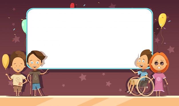 Bambini disabili con banner bianco bianco su sfondo scuro con cartoon decorazione Vettore gratuito