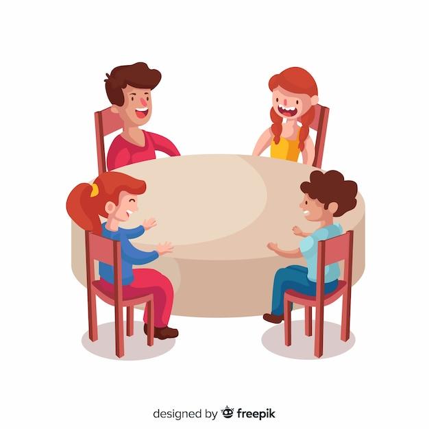 Bambini disegnati a mano che si siedono intorno all'illustrazione della tavola Vettore gratuito