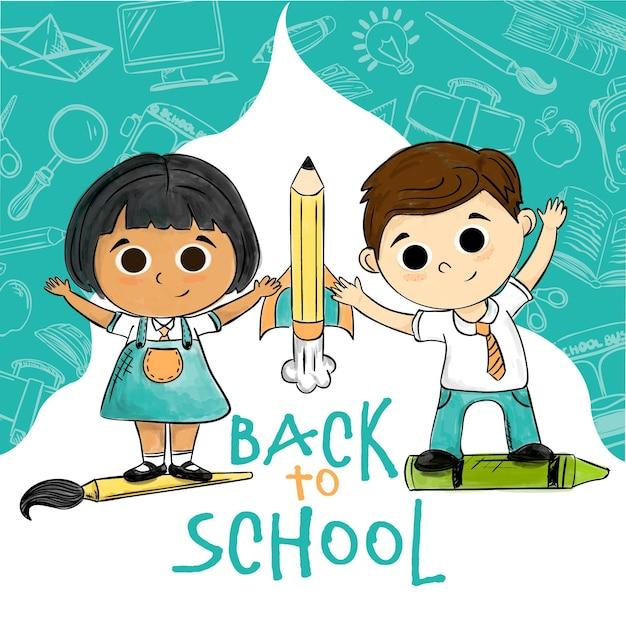 Bambini disegnati a mano di nuovo al concetto di scuola Vettore gratuito