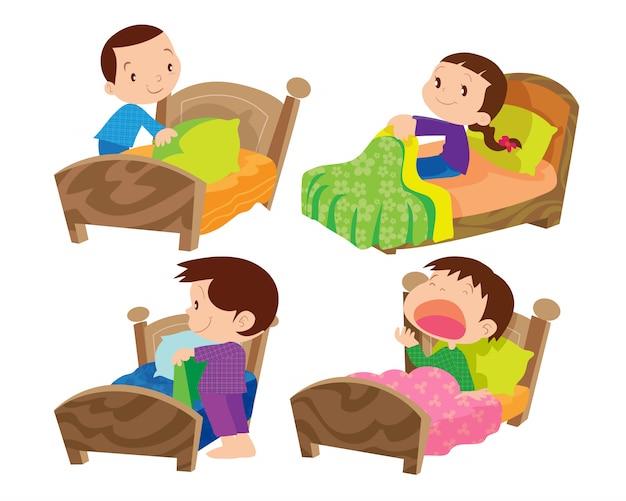 Bambini e letto Vettore Premium