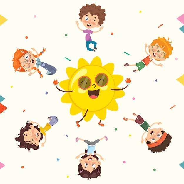 Bambini estivi Vettore Premium