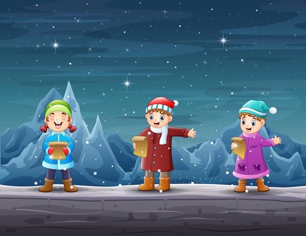 Bambini felici che cantano nel paesaggio dell'iceberg Vettore Premium
