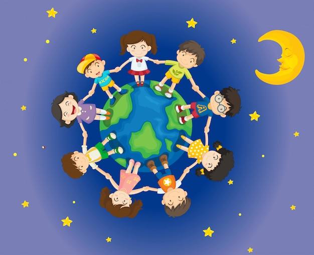 Bambini felici che circondano la terra Vettore gratuito