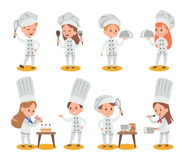 Bambini felici che cucinano Vettore Premium
