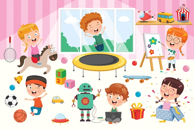 Bambini felici che giocano con i giocattoli Vettore Premium