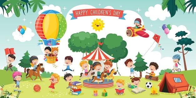 Bambini felici che giocano l'illustrazione del paesaggio Vettore Premium