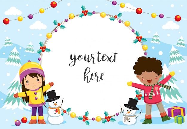 Bambini felici che giocano nella neve con cornice Vettore Premium