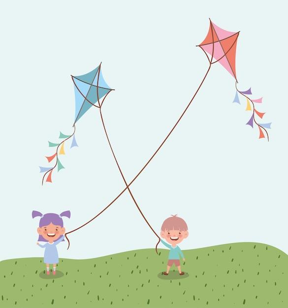 Bambini felici che pilotano gli aquiloni nel paesaggio del campo Vettore gratuito