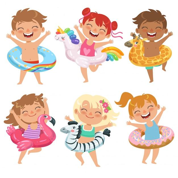 Bambini felici con carri allegorici Vettore Premium
