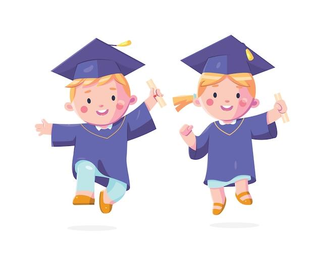 Bambini felici giorno della laurea Vettore Premium