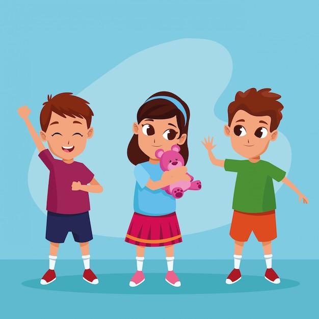 Bambini felici svegli che sorridono ai cartoni animati Vettore gratuito